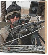 Iraqi And U.s. Soldiers Patrol The Al Wood Print by Stocktrek Images