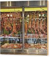 Italian Market Butcher Shop Wood Print by John Greim