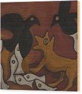 Jackal Dream Wood Print by Sophy White