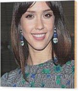 Jessica Alba Wearing Vintage Earrings Wood Print by Everett