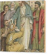 Jesus And The Blind Men Wood Print by English School