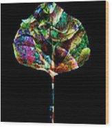 Jewel Tone Leaf Wood Print by Ann Powell
