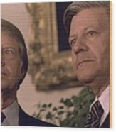 Jimmy Carter Meeting With German Wood Print by Everett