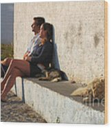 Kicking Back In Greece Wood Print by Bob Christopher
