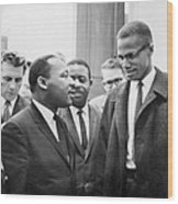 King And Malcolm X, 1964 Wood Print by Granger