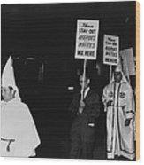 Ku Klux Klan Members, In Hooded White Wood Print by Everett