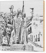La Rogativa Sculpture Old San Juan Puerto Rico Black And White Line Art Wood Print by Shawn O'Brien