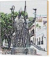 La Rogativa Sculpture Old San Juan Puerto Rico Colored Pencil Wood Print by Shawn O'Brien