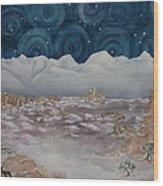 La Sal Mountains In The Snow Wood Print by Estephy Sabin Figueroa