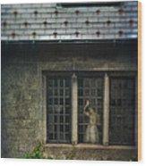 Lady By Window Of Tudor Mansion Wood Print by Jill Battaglia