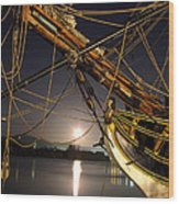 Lady Washington - Moonlight On Coos Bay Wood Print by Gary Rifkin