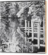 Lake Dock Wood Print by John Rizzuto