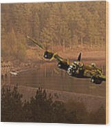Lancaster Over The Dams Wood Print by Nigel Hatton