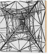 Large Electricity Powermast Wood Print by Yali Shi