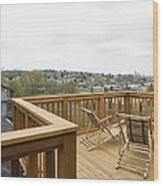 Lawn Chairs On Deck Wood Print by Andersen Ross