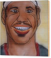 Lebron James Wood Print by Pete Maier