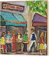 Lester's Deli Montreal Cafe Summer Scene Wood Print by Carole Spandau