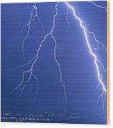 Lightning Strike At Night Near Phoenix, Usa Wood Print by Keith Kent