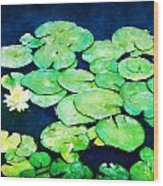 Lily Pads And Lotus Wood Print by Tammy Wetzel