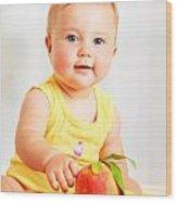 Little Baby Choosing Fruits Wood Print by Anna Om