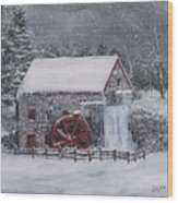 Longfellow's Grist Mill In Winter Wood Print by Jack Skinner