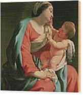 Madonna And Child Wood Print by Simon Vouet