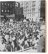 Malcolm X, Speaking To An Outdoor Rally Wood Print by Everett