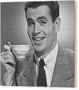 Man Drinking Coffee Wood Print by George Marks