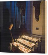 Man Prays By Candles At Frauenkirche Wood Print by Greg Dale