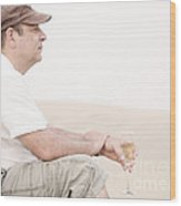 Man With Glass Of Champagner In The Dunes Wood Print by Iryna Shpulak