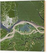 Manaus, Satellite Image Wood Print by Planetobserver