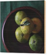 Mandarin Orange In Wooden Bowl Wood Print by © Miss Snail All right reserved