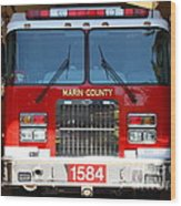 Marin County Fire Department Fire Engine . Point Reyes California . 7d15921 Wood Print by Wingsdomain Art and Photography