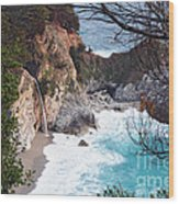 Mcway Falls In Spring Wood Print by Tonia Noelle