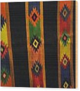 Mexican Throw Rug Colorful Wood Print by Unique Consignment