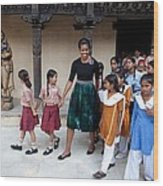 Michelle Obama Accompanied By Children Wood Print by Everett
