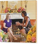 Michelle Obama Has Tea With Sara Wood Print by Everett