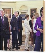 Michelle Obama Laughs With Guests Wood Print by Everett