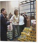 Michelle Obama Volunteers For Feeding Wood Print by Everett