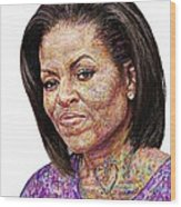 Michelle Obama With An Ipad Wood Print by Edward Ofosu