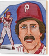 Mike Schmidt-color Wood Print by Chris  DelVecchio