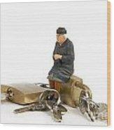 Miniature Figurines Of Elderly Sitting On Padlocks Wood Print by Bernard Jaubert