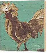 Mister Fowler - Linocut Print Wood Print by Annie Laurie