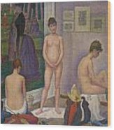 Models Wood Print by Georges Seurat