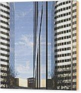 Modern High Rise Office Buildings Wood Print by Roberto Westbrook