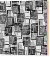 Monochrome Squares Wood Print by Louisa Knight