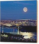 Moon Over Vancouver, Time-exposure Image Wood Print by David Nunuk