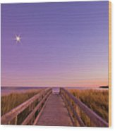 Moonlit Boardwalk At Beach Wood Print by Nancy Rose