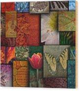 Mosaic Earth Tone Nature Rough Patterns Wood Print by Angela Waye