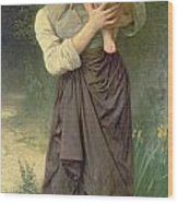 Mother And Child Wood Print by William Adolphe Bouguereau